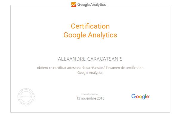 Certfication Analytics Consultant SEO SEO Lille Caracatsanis Alexandre