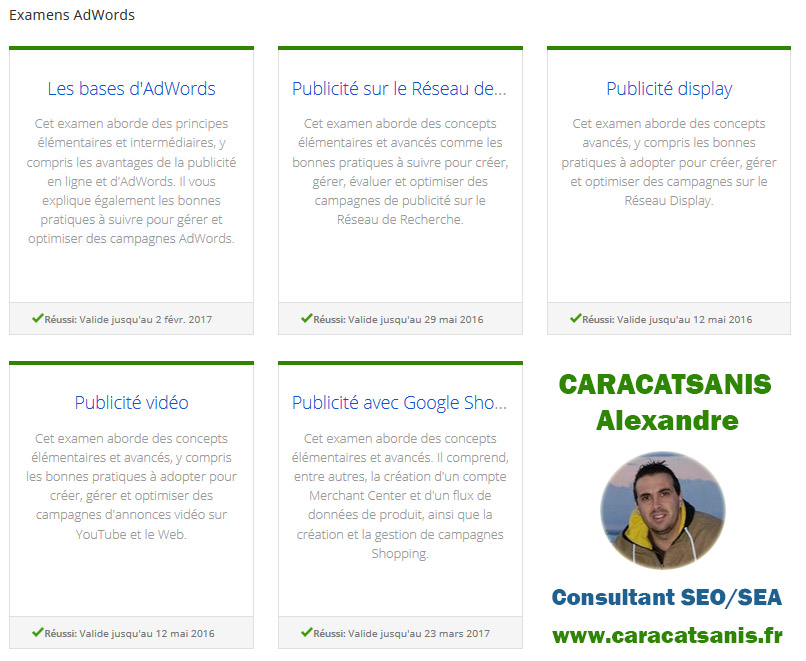 Certification Adwords consultant SEA Lille Caracatsanis Alexandre